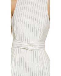 Finders Keepers | As You Are Twist Long Jumpsuit - Pinstripe White | Lyst
