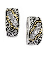 Effy   Metallic Balissima Sterling Silver, Diamond And 18K Yellow Gold Etched Hoop Earrings   Lyst