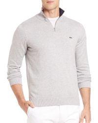 Lacoste - Gray Quarter-zip Cotton Sweater for Men - Lyst