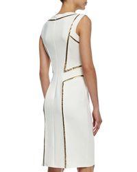 Tadashi Shoji - White Sleeveless Sequin-seamed Cocktail Sheath Dress - Lyst
