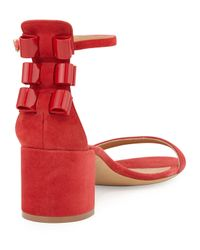 Ferragamo - Red Connie Suede Bow-Detail Sandals - Lyst