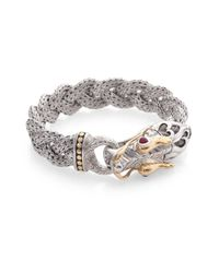John Hardy | Metallic 18k Gold Sterling Silver Ruby Braided Dragon Bracelet | Lyst