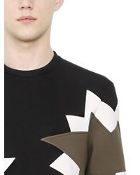 Neil Barrett - Black Neoprene Sweatshirt With Inserts - Lyst