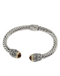 Effy | Metallic Balissima Sterling Silver, Citrine And 18k Yellow Gold Twisted Bangle Bracelet | Lyst