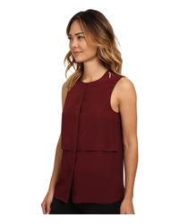 MICHAEL Michael Kors - Red Sleeveless Button Down Top - Lyst