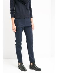 Mango - Blue Zip Cotton Trousers - Lyst