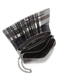 Prada - Black Saffiano Large Tartan-print Shoulder Bag - Lyst