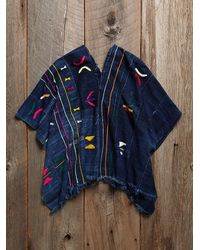 Free People - Blue Vintage Embroidered Indigo Poncho - Lyst