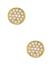 kate spade new york - Metallic Glass Stone Pave Disc Stud Earrings - Lyst