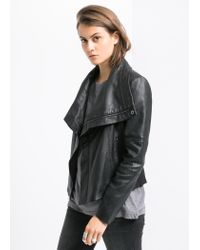 Mango - Black Biker Leather Jacket - Lyst