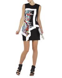 BCBGMAXAZRIA | Black Alessandra Printed Asymmetrical Peplum Dress | Lyst