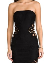 Dress the Population - Caitlyn Strapless Crochet Dress with Crochet Inserts in Black - Lyst