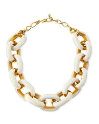 Kenneth Jay Lane - Metallic White Enamel & Gold-plated Link Necklace - Lyst