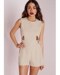 Missguided | Natural Cut Out Buckle Detail Playsuit Stone | Lyst