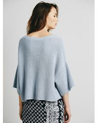 Free People - Blue Ryanne Crew Neck Pullover - Lyst