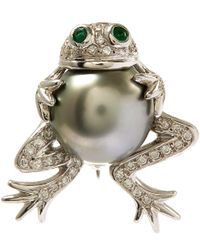 Kojis | Metallic White Gold Tahitian Pearl Frog Diamond Brooch | Lyst