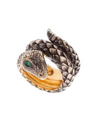 Queensbee | Multicolor Two Rounds Snake Ring | Lyst