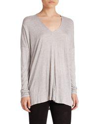 VINCE | Gray Long-sleeve V-neck Top | Lyst