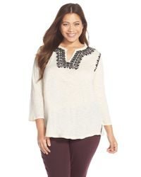 Lucky Brand - Natural Embroidered Boho Top - Lyst