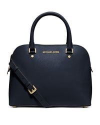 MICHAEL Michael Kors | Blue Cindy Medium Saffiano Leather Satchel | Lyst