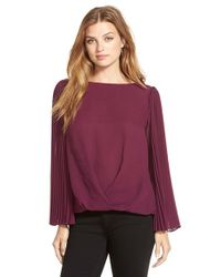 Vince Camuto | Purple Pleated Sleeve Foldover Blouse | Lyst
