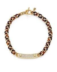 Michael Kors | Metallic Plaque Tortoise-Print Curb Chain Necklace | Lyst