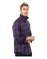 Calvin Klein | Purple Liquid Cotton Twill Dobby Plaid Woven Shirt for Men | Lyst