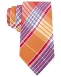 Tommy Hilfiger - Orange Big Twill Plaid Tie for Men - Lyst