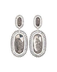 Kendra Scott - Gray Kaki Druzy Baguette Earrings - Lyst