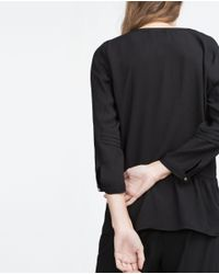 Zara | Black Blouse With 3/4 Length Sleeves | Lyst