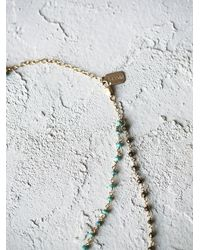 Free People | Blue Two In One Stone Necklace | Lyst