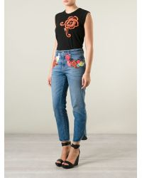 Christopher Kane | Black Floral Patched Tank Top | Lyst
