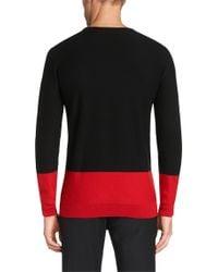 HUGO | Red 'seviror' | Virgin Wool Colorblock Sweater for Men | Lyst
