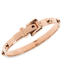 Michael Kors | Pink Rose Gold-Tone Steel Buckle Bangle Bracelet | Lyst