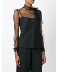 RED Valentino - Black Sheer Dotted Print Bow Blouse - Lyst