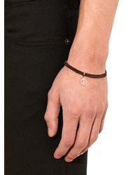 Paul Smith - Brown Peace Charm Leather Bracelet for Men - Lyst