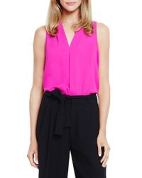 Vince Camuto | Pink Pleat Front V-neck Blouse | Lyst