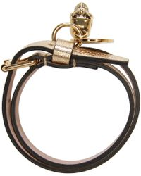 Alexander McQueen - Metallic Gold Double_wrap Leather Bracelet - Lyst