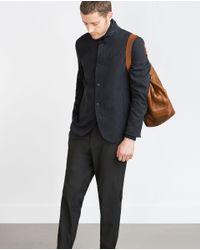 Zara | Blue Blazer With Combined Interior for Men | Lyst