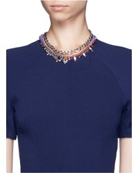 Joomi Lim - Purple Cotton Braid Crystal Necklace - Lyst