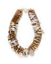 Assad Mounser - Metallic Spike Rhinestone Collar Necklace - Lyst