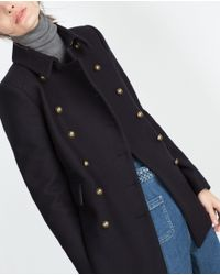 Zara | Blue Short Coat | Lyst