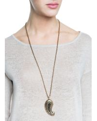 Mango | Metallic Paisley Pendant Necklace | Lyst