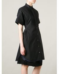 Sacai - Black Layered Boxy Shirt Dress - Lyst