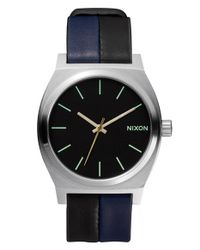 Nixon | Black 'the Time Teller' Leather Strap Watch for Men | Lyst