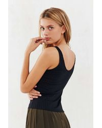Project Social T - Black Lace-up Ribbed Tank Top - Lyst