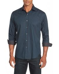 Bugatchi | Blue Shaped Fit Check Print Long Sleeve Sport Shirt for Men | Lyst