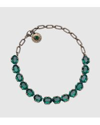 Gucci | Green Necklace With Swarovski Crystals | Lyst