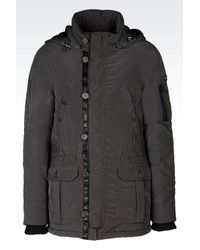Armani Jeans - Green Hooded Pea Coat In Technical Fabric for Men - Lyst