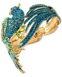 Betsey Johnson | Gold-tone Blue And Green Pave Bird Bangle Bracelet | Lyst